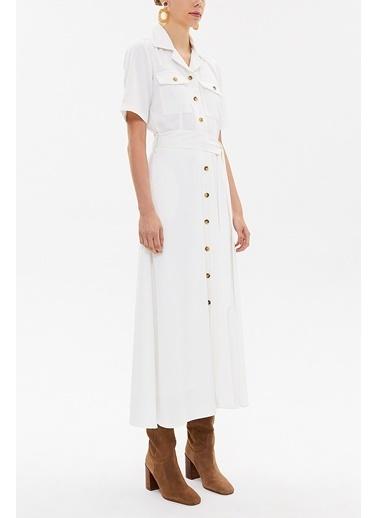 Societa Kısa Kollu Gömlek Elbise 92867 Beyaz